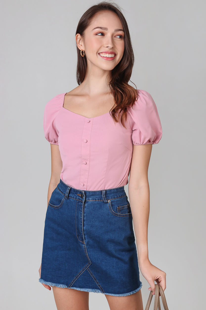 Felicity Puffy Sleeves Top in Pink