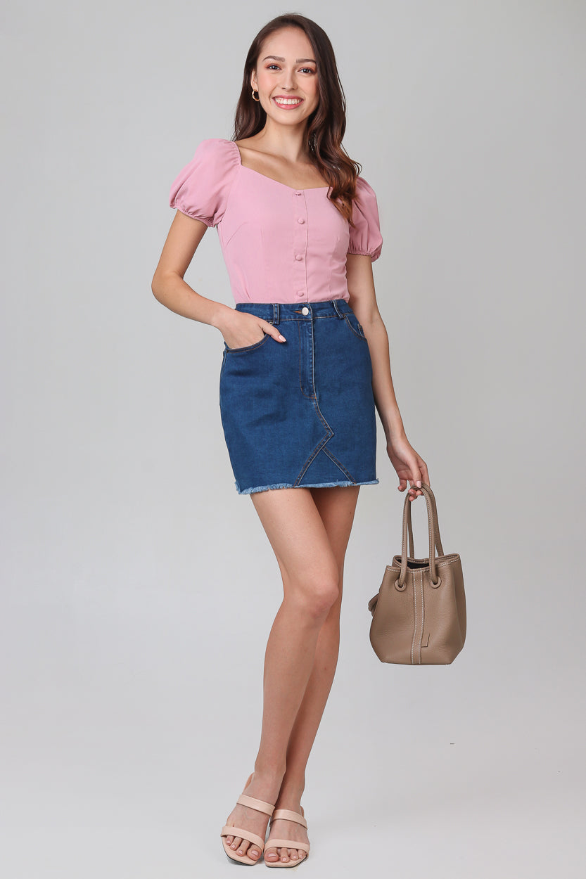 Restocked* Mikaela Denim Skirt in Dark Wash