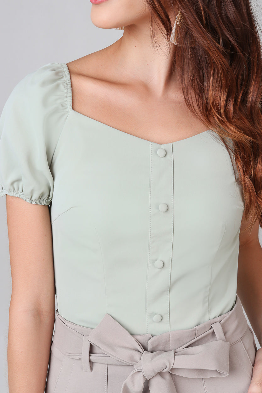 Felicity Puffy Sleeves Top in Sage