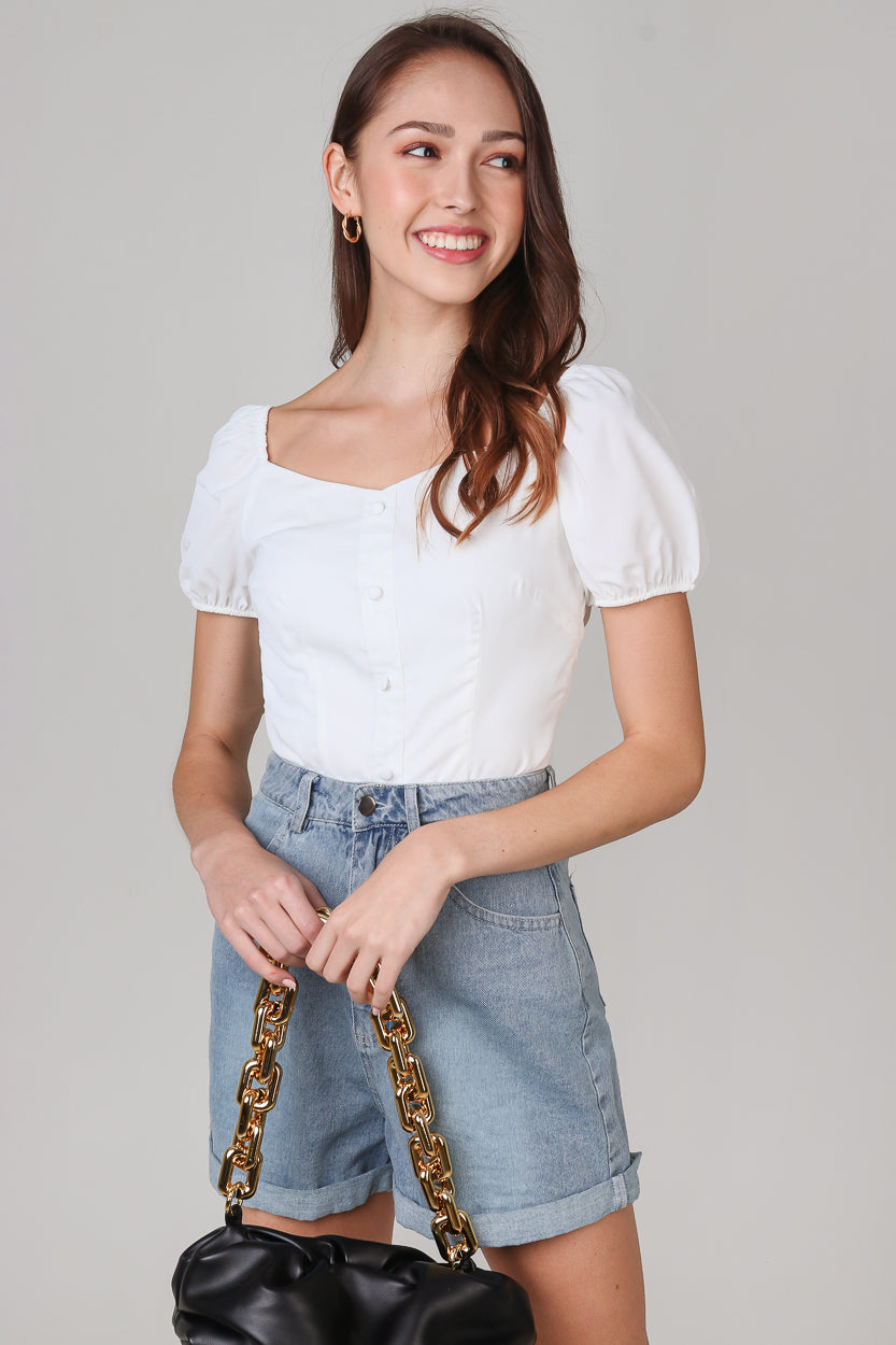 Felicity Puffy Sleeves Top in White