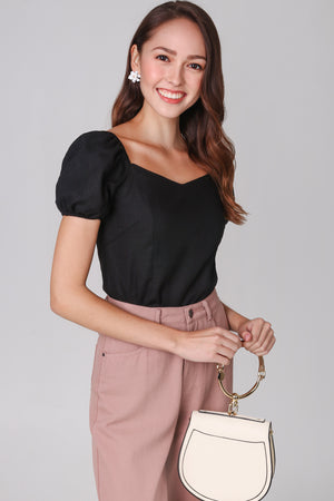 Backorder* Janelle Puffy Sleeve Top in Black
