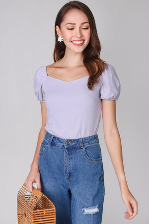 Backorder* Janelle Puffy Sleeve Top in Lilac