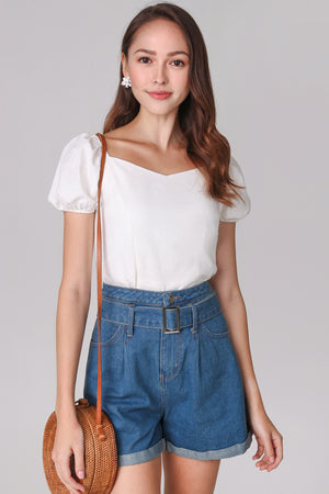 Backorder* Janelle Puffy Sleeve Top in White