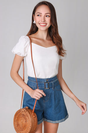 Janelle Puffy Sleeve Top in White