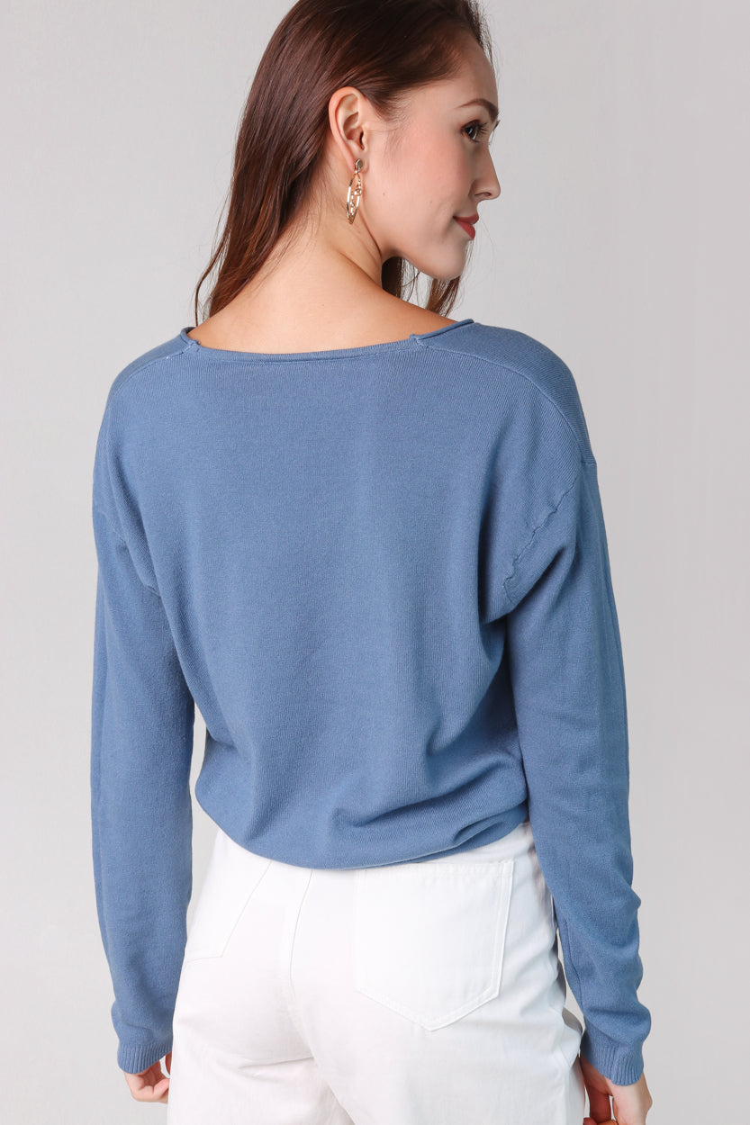 Soft Knit Pullover in Blue