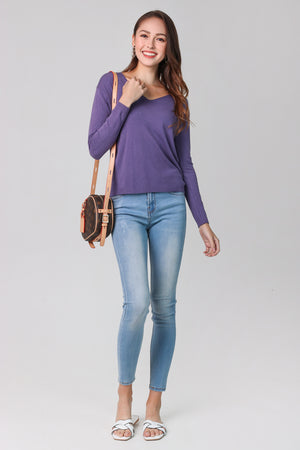 Soft Knit Pullover in Purple