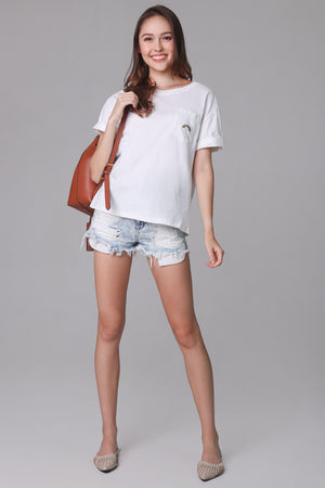 Rainbow Tee Top in White
