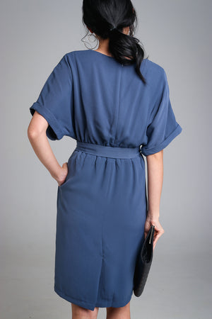 Regina Batwing Dress in Blue