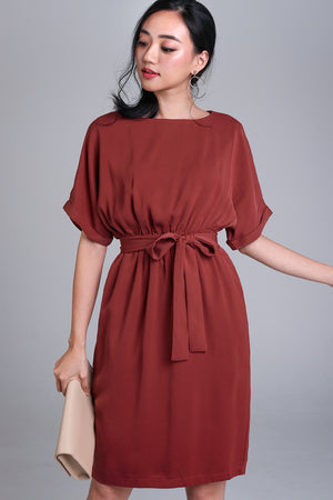 Regina Batwing Dress in Brick