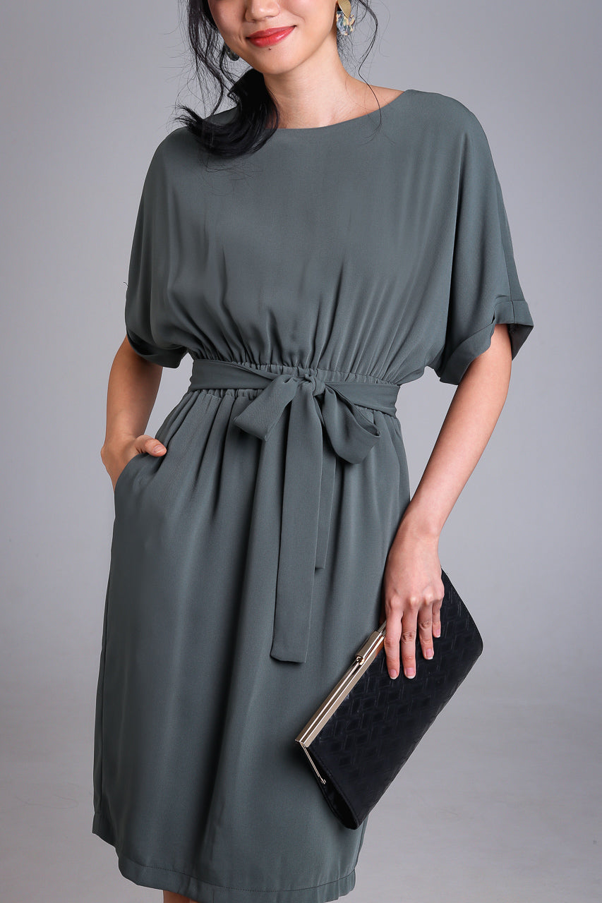 Regina Batwing Dress in Olive