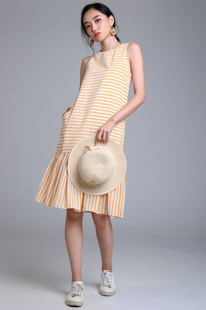 Restocked* Sail Away Striped Drophem Dress in Yellow