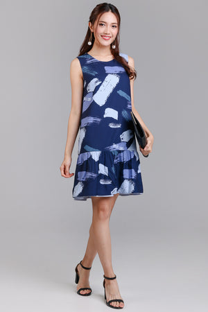 Artisan's Palette Reversible Dress in Navy Print