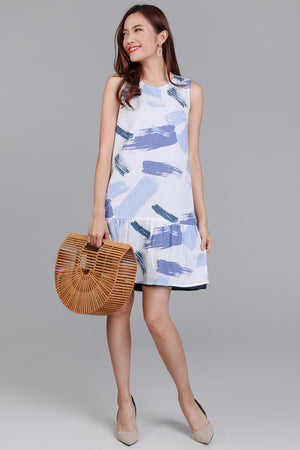 Artisan's Palette Reversible Dress in Sky Print