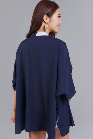 Restocked* Changing Seasons Kimono Jacket in Navy (Reversible)