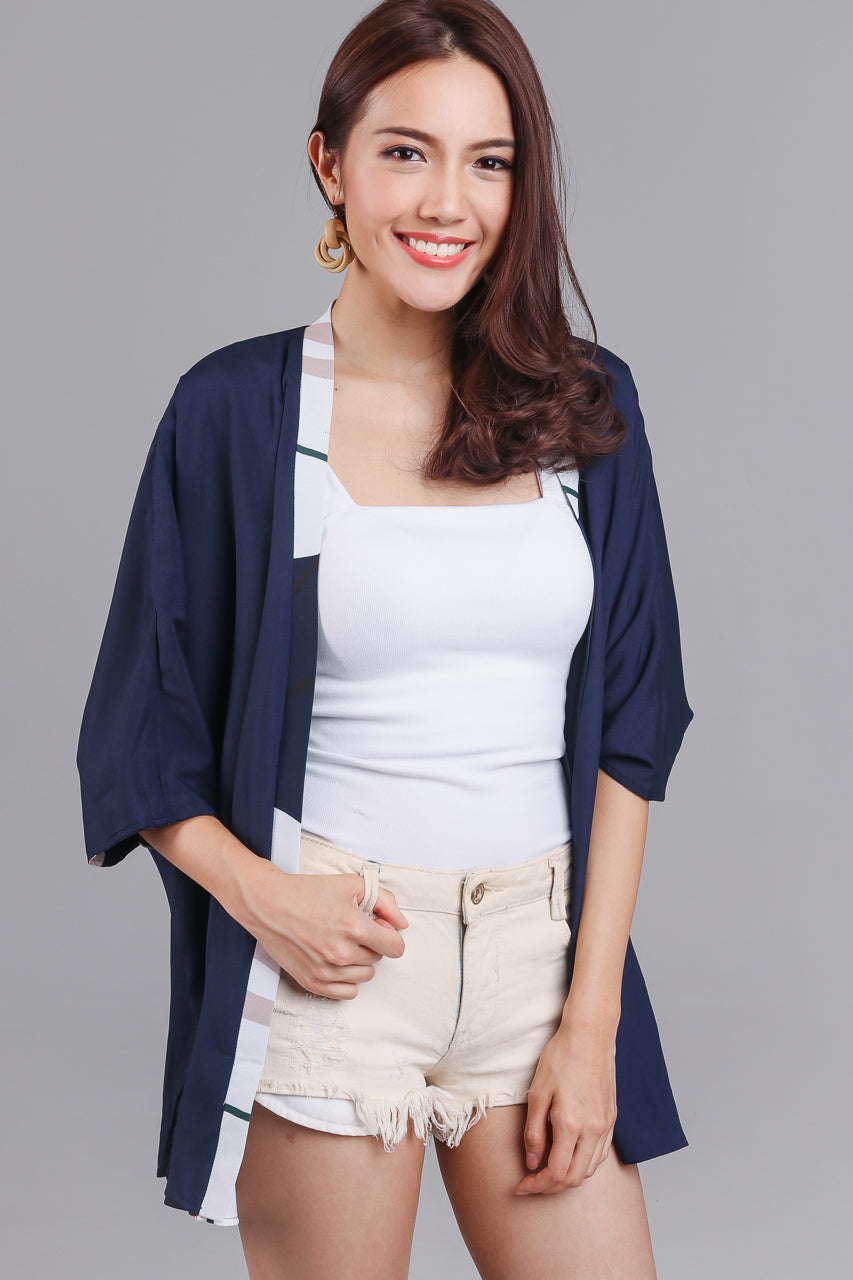 Backorder* Changing Seasons Kimono Jacket in Navy (Reversible)