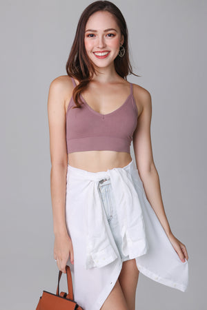Basic Ribbed Bralette in Mauve