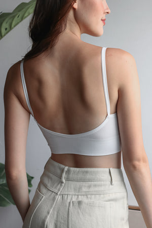 Backorder* Basic Ribbed Bralette in White