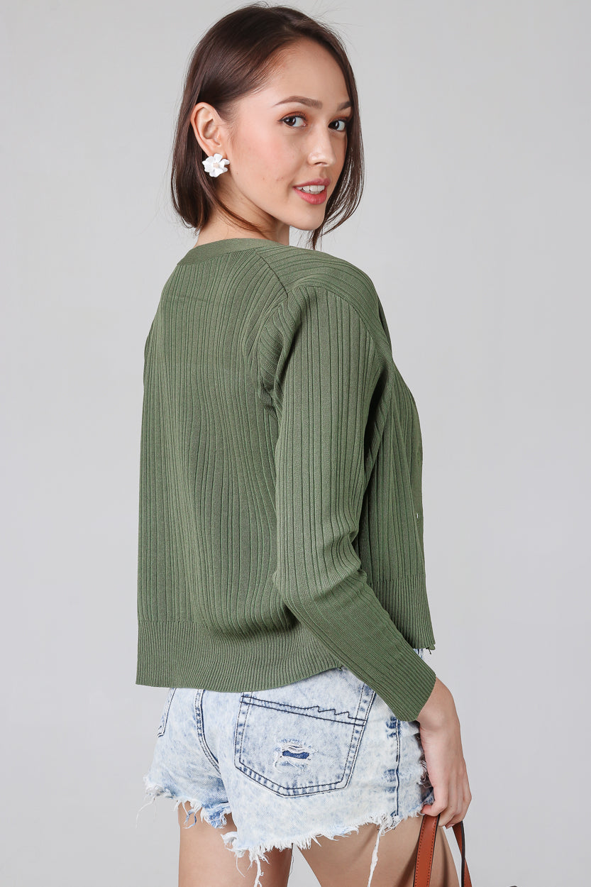 V-Neck Ribbed Cardigan in Olive