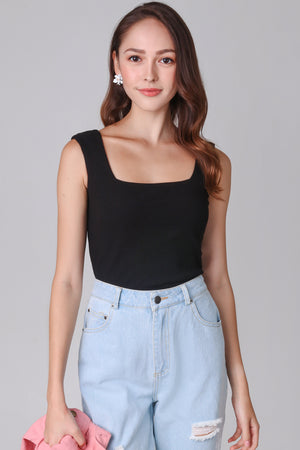 Ribbed Square Neck Top in Black