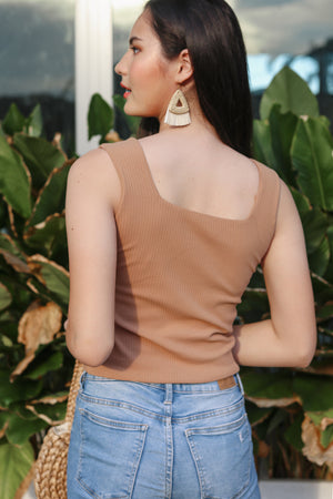 Ribbed Square Neck Top in Cocoa