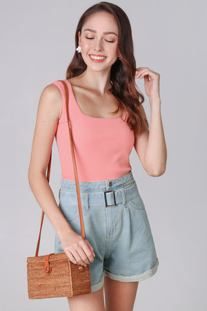 Restocked* Ribbed Square Neck Top in Peach