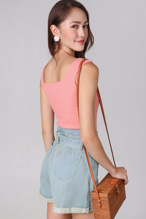 Ribbed Square Neck Top in Peach