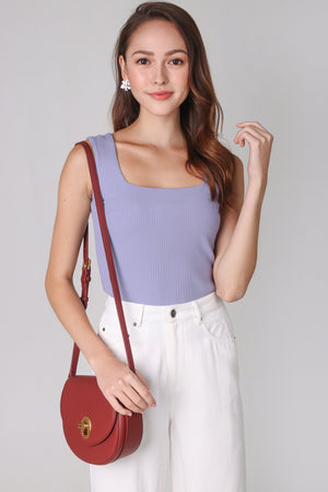 Restocked* Ribbed Square Neck Top in Lilac