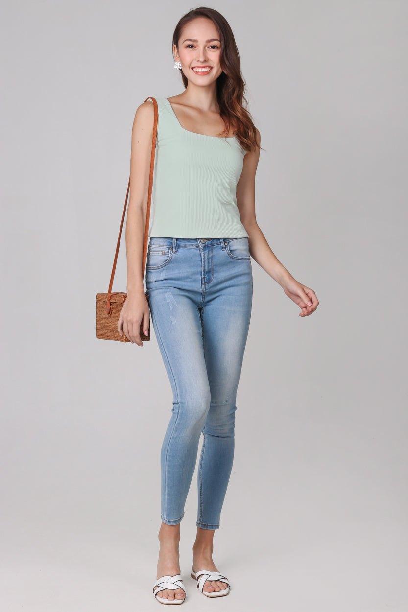 Restocked* Ribbed Square Neck Top in Sage