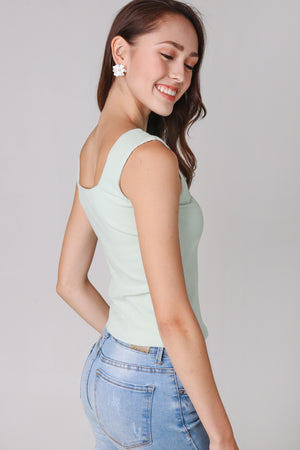 Ribbed Square Neck Top in Sage