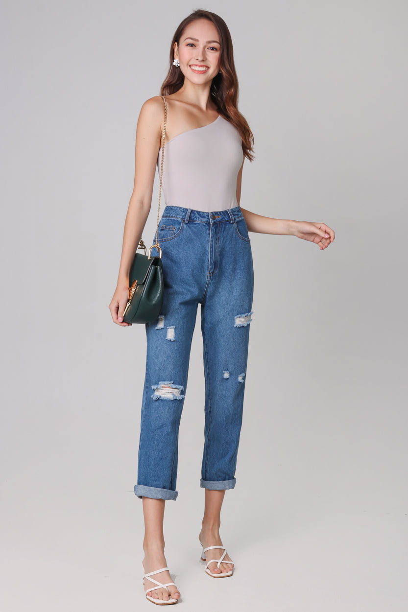 Restocked* Ripped Boyfriend Jeans in Dark Wash