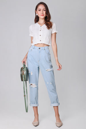 Backorder* Ripped Boyfriend Jeans in Light Wash