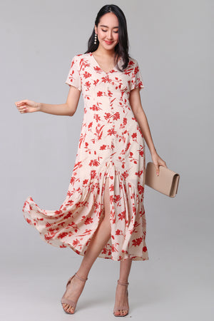 Romance In The Air Midi Dress in Cream