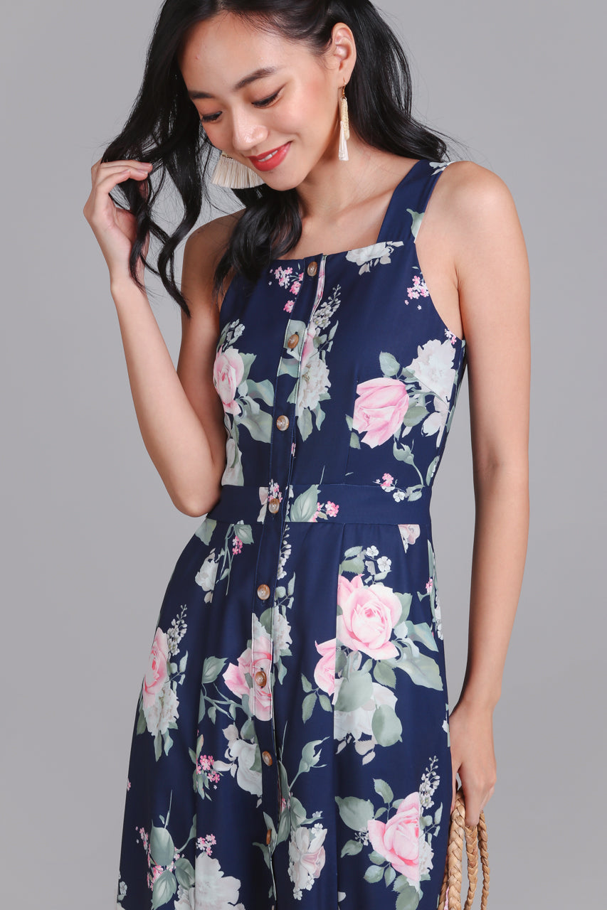 Floral Adoration Midi Dress in Navy