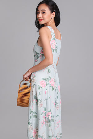 Restocked* Floral Adoration Midi Dress in Jade
