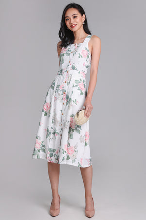 Restocked* Floral Adoration Midi Dress in White