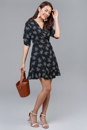 It's A Wrap Dress in Black Flowers