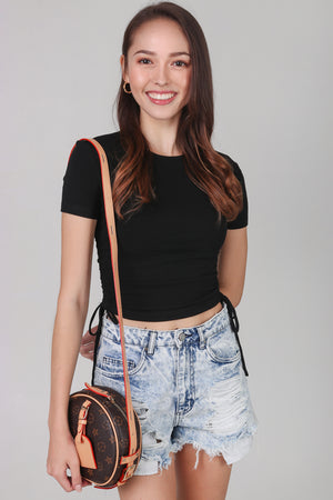 Restocked* Drawstring Ribbed Top in Black (2-Way)