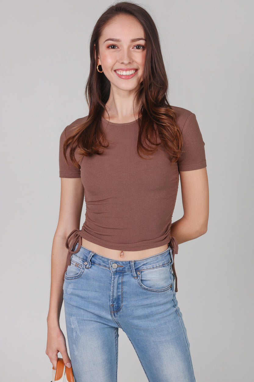 Drawstring Ribbed Top in Cocoa (2-Way)