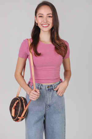 Drawstring Ribbed Top in Rose (2-Way)