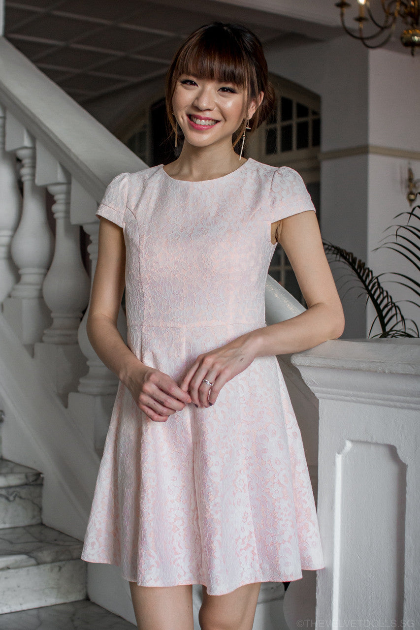 Sara Sweet Sleeved Lace Dress in Pink