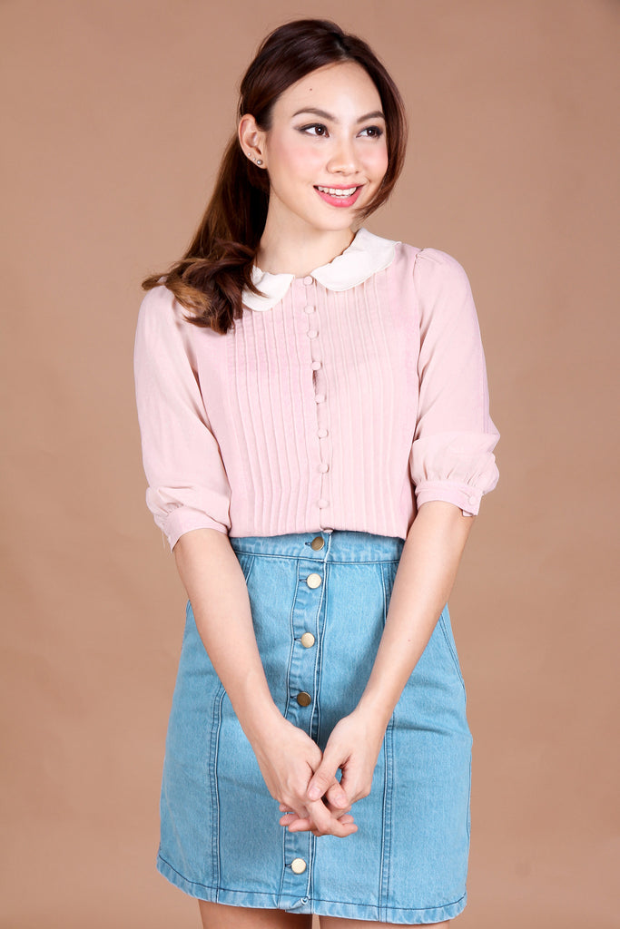 Heidi Scallop Blouse in Pink
