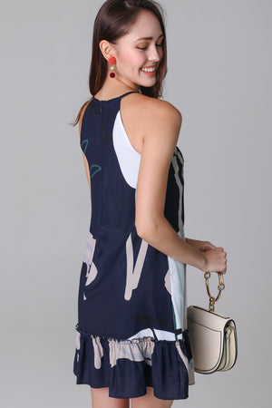 Changing Seasons Cut-In Dress in Navy