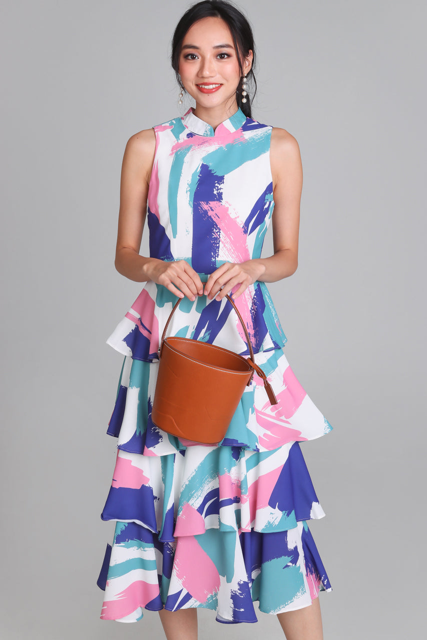 Shalyn Tier Dress in Abstract Pink