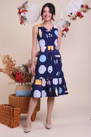 Shapes Button Midi Dress in Navy
