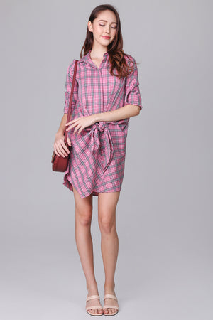 Shelford Shirt Dress in Pink