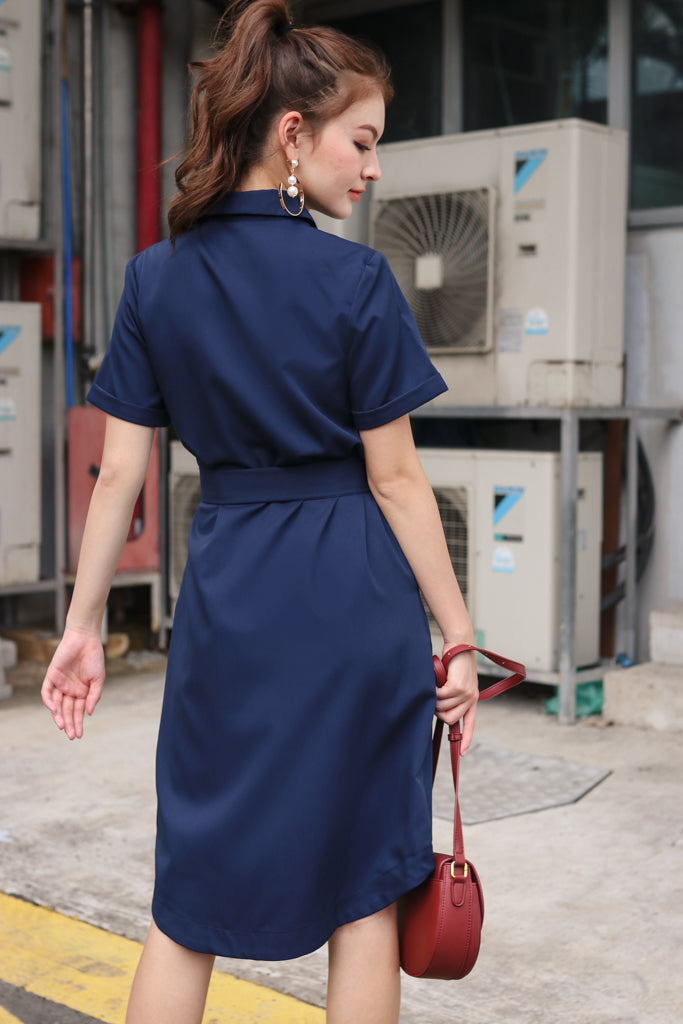 Alvina Shirt Dress in Navy