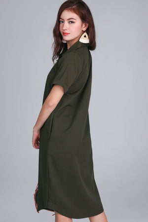 Alvina Shirt Dress in Olive