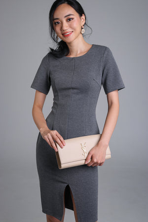Lyla Sleeved Shift Dress in Grey