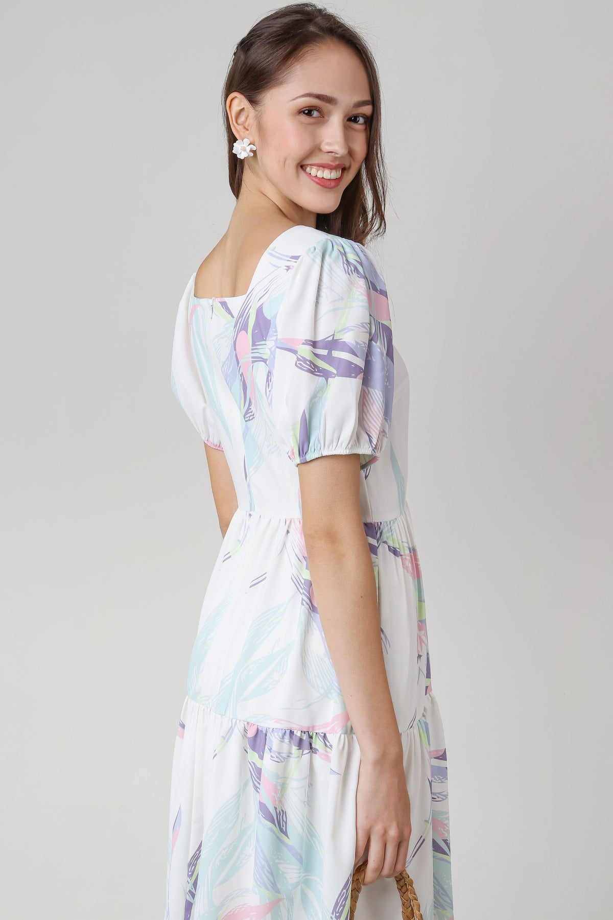 Dion Abstract Sleeved Dress in White