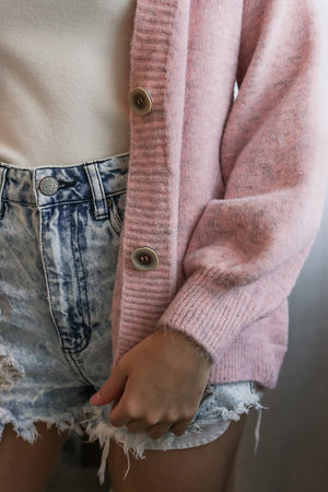 Restocked* Snuggle Up Cardigan in Pink